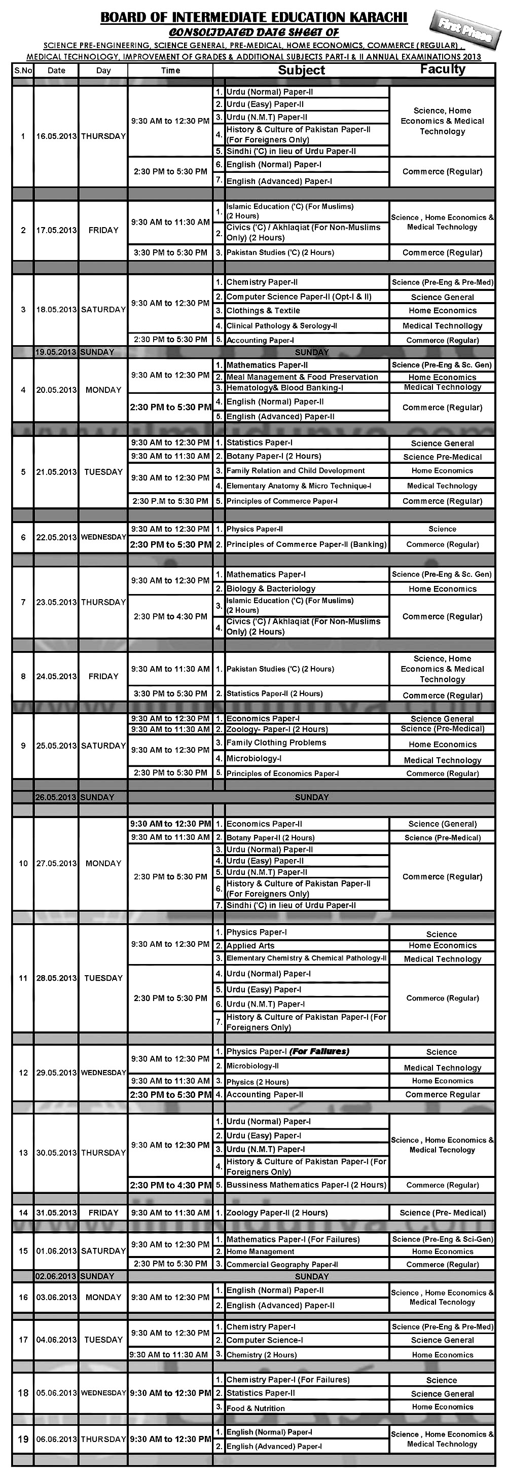 karachi-inter-date-sheet-2013 inter HSSC part-i-ii exams 2013 karachi