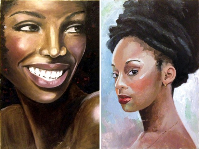 Art exhibition ,Serena Hotel on Sunday, Egyptian artist, Naira El-Tablawi, painted portraits, African women in Egypt, pakart.org