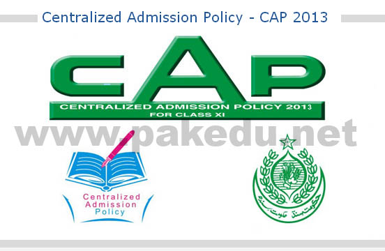 CAP 2013 admission forms online download male and female pre-engineering, pre-medical, computer science, commerce, humanities  home economics Karachi