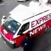 Unidentified armed men fired upon Express News van near Matric Board Office in Karachi