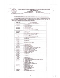 FBISE SSC annual exams to start on 18th Annual Examination 2014 of the ...