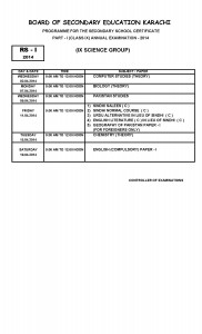 SSC part-i part-ii Exam metric annual examination 2014 Date Sheets class x (General Group Only) BSEK Karachi Board_Page_2
