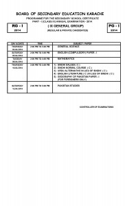 SSC part-i part-ii  Exams metric annual examination 2014 Date Sheets class x (Science Group Only) BSEK Karachi Board_Page_2